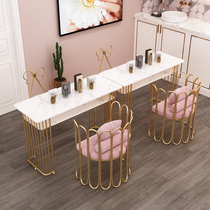Nordic coffee table ins wind Marble double nail table and chair set Net Red Nail table Wrought iron metal double table