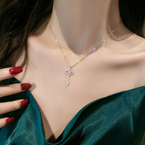 Korean key necklace Rose gold clavicle chain new temperament net red necklace simple personality cold wind pendant female
