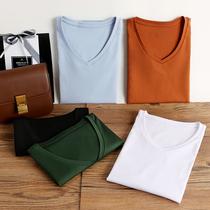 Blanc mercerisé coton À Manches Courtes T-shirt Femmes Lâche ronde V-Cou Coton Chemise 2020 printemps et dété nouveau sauvage Chemise