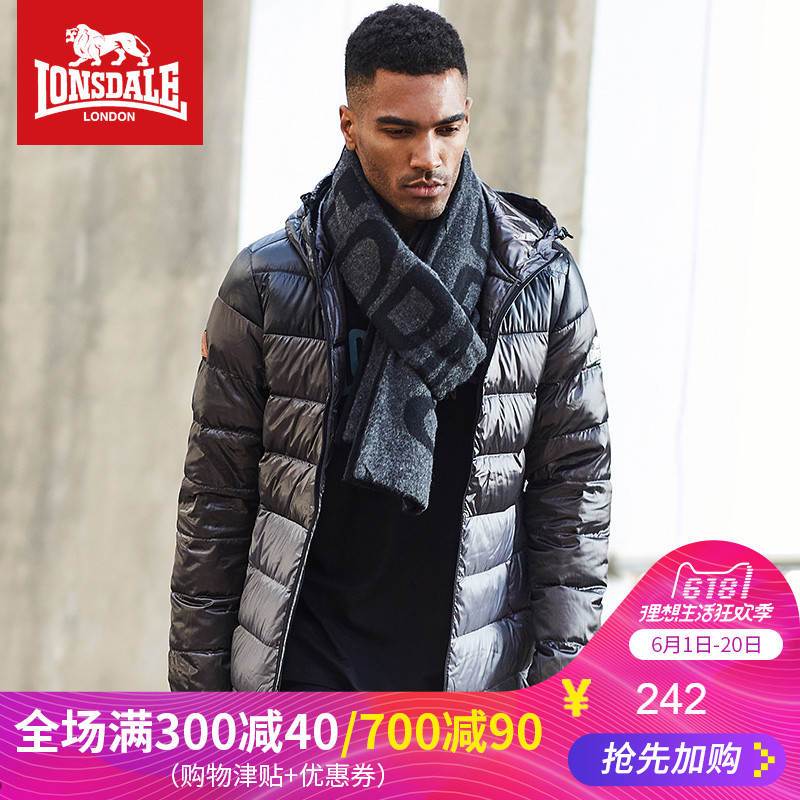 Lonsdale Dragon and Lion Dell Winter 2019 Light Down Dress Men's Down Hat Short Slim Jacket