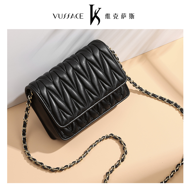 Vicksas Slant Bag Female 2018 New Explosive Fashion Single Shoulder Genuine Leather Female Small Bag Soft Leather Sheepskin Bag