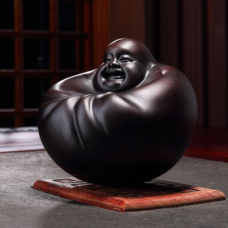 Huang Quanfu Lucky Maitreya Buddha Original Decoration Crafts Buddha Ebony Woodcarving Shaking Buddha Desk Decoration