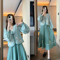 Early autumn Chinese womens Chinese style Tang suit jacket improved cheongsam dress national style two-piece Chinese element costume