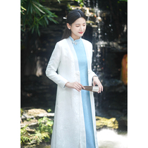 Early cicada early Autumn New Coat White Tang womens Chinese style Zen improved Hanfu pair long shirt tea suit