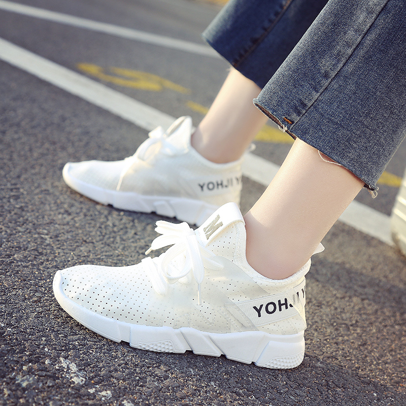 2019 new summer Korean women's shoes flat bottom fashion small white shoes mesh lace up breathable running casual shoes