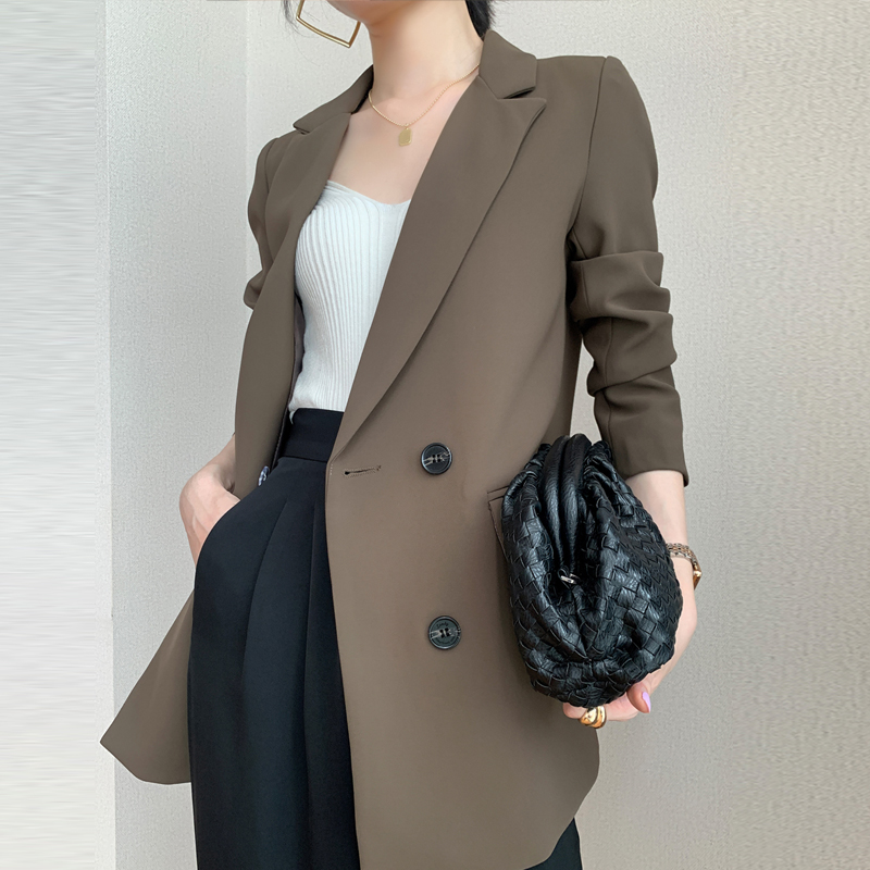 Coffee color small blazer women 2021 spring new fashion casual loose temperament thin black professional suit