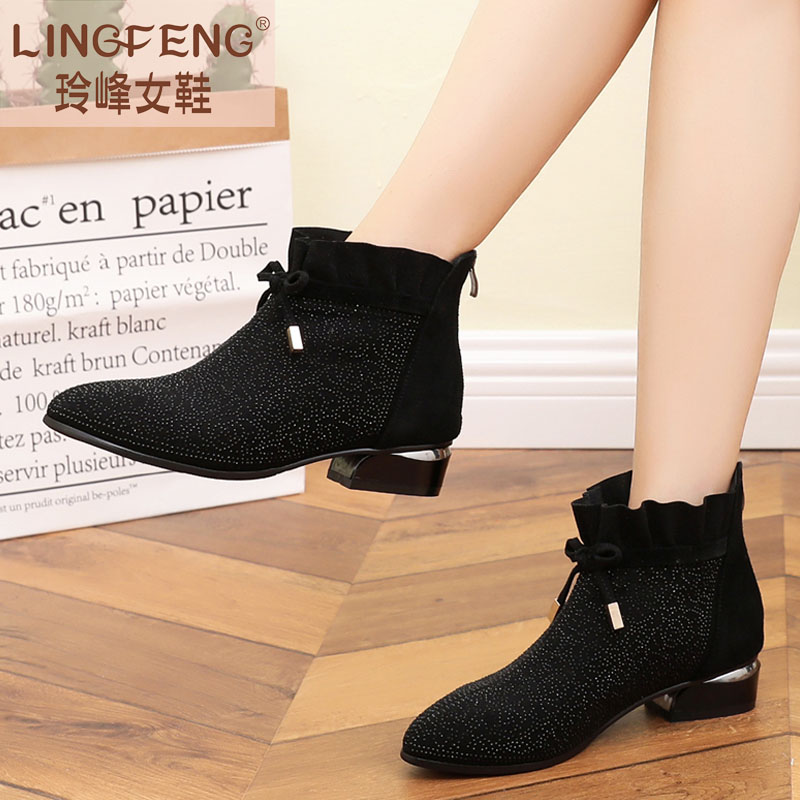2018 fashion leather large size women's shoes 41--43 autumn boots Korean version of the wild flat casual new single boots