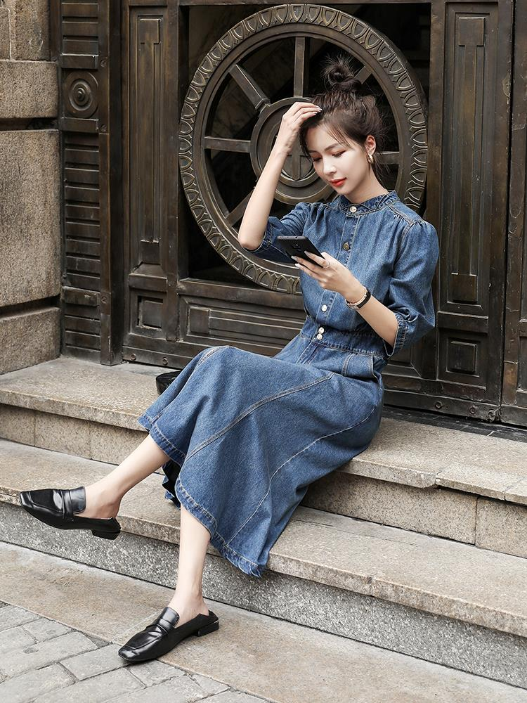 MAJE KARA robe jupe en denim 2021 nouvelle robe de printemps femme taille mince mi-tempérament âge-réduction A-mot jupe
