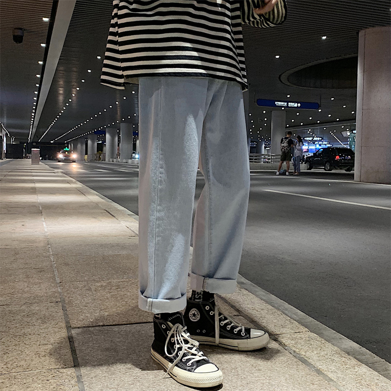 Jeans men's loose fall feeling wide leg ins Hong Kong Wind straight tube boys' spring pants 2020 new Korean Trend