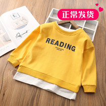 Childrens long-sleeved T-shirt false two spring men and women children Korean version of the baby sweater round neck pullover bottoming shirt tide
