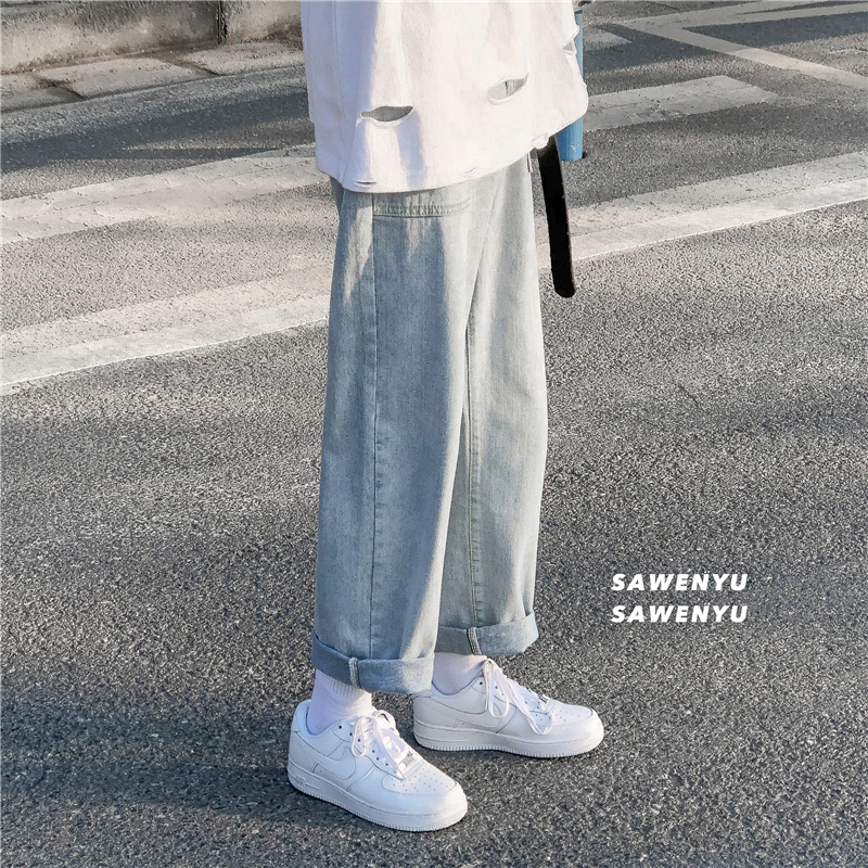 Jeans, men's straight tube, loose fashion brand, INS, drop sense, wide leg, casual pants, long pants, Korean version, trend, cropped pants