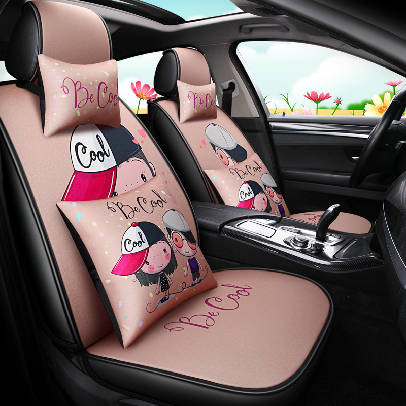 Cartoon car cushion in summer cloth art surrounds lovely ladies'simple comfortable seat cover and goddess seat cover