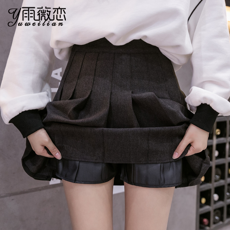 Woolen pleated half-length skirt women's autumn and winter 2020 new winter with sweater is thin a-line short skirt winter skirt