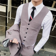 British men's waistcoat and trousers suit Korean version hairdresser's suit, bridegroom's wedding dress and groom's bridesmaid's dress