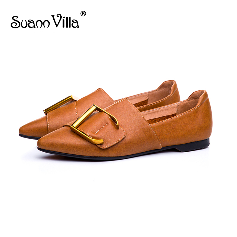 Suann Villa 2009 Spring and Autumn New Top Cowhide Flat sole Single Shoe Female Point Dermis All Seasons