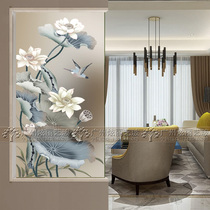 Chinese Art Glass Screen Isolates Customized Grinding and Carving Glass in the Passage of Home Decoration Living Room
