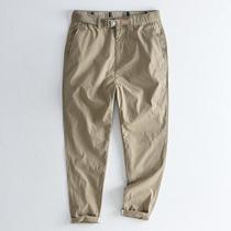 Tide brand thin elastic waist buckle belt casual pants mens summer trend loose straight solid color nine-point pants Khaki