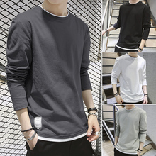 Long-sleeved T-shirt Men's Guard in Autumn Ins Loose Autumn Clothes Pure Cotton Bottom Blouse Spring and Autumn Clothes for Men