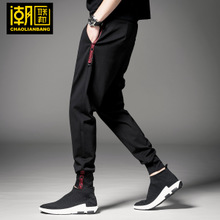 Trousers Men's Korean Leisure Hallen Trousers Small Foot Fashion Tie Foot 2019 Spring and Autumn Sports Trousers Closed Men's Trousers