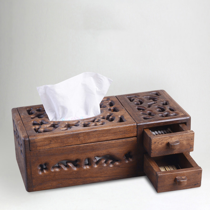 Beautiful Creative Multifunctional Retro-vintage Wooden Towel Box Living Room Pastoral Households Receive Paper Box Tea Table Arrangements