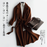 Double sided cloth wool coat girls long wool coat woolen cashmere waist in autumn and winter season clearance.