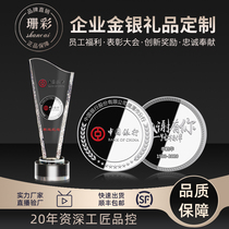 Silver coin customized sterling silver 999 commemorative coin customized gold and silver banknote card medal anniversary annual meeting pure gold and silver badge