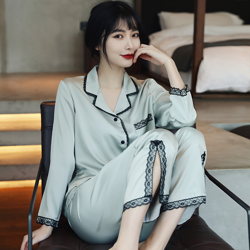 French Light Luxury Singles - Home Daily! Ice silk pajamas womens spring and autumn long-sleeved thin lace home clothes
