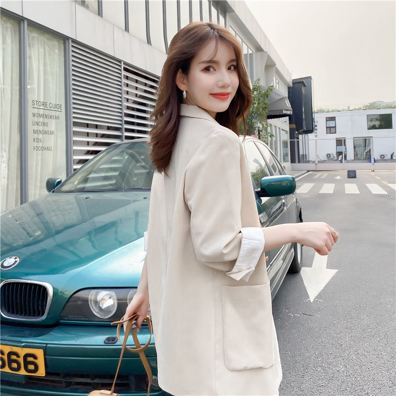 Blazer, Outerwear, women's 2020 summer thin, Korean version, loose seven sleeve design sense, popular suit, women's top trend