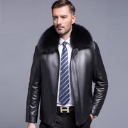 2017 new Haining leather jacket mens jacket with leather cashmere male father put autumn and winter jacket