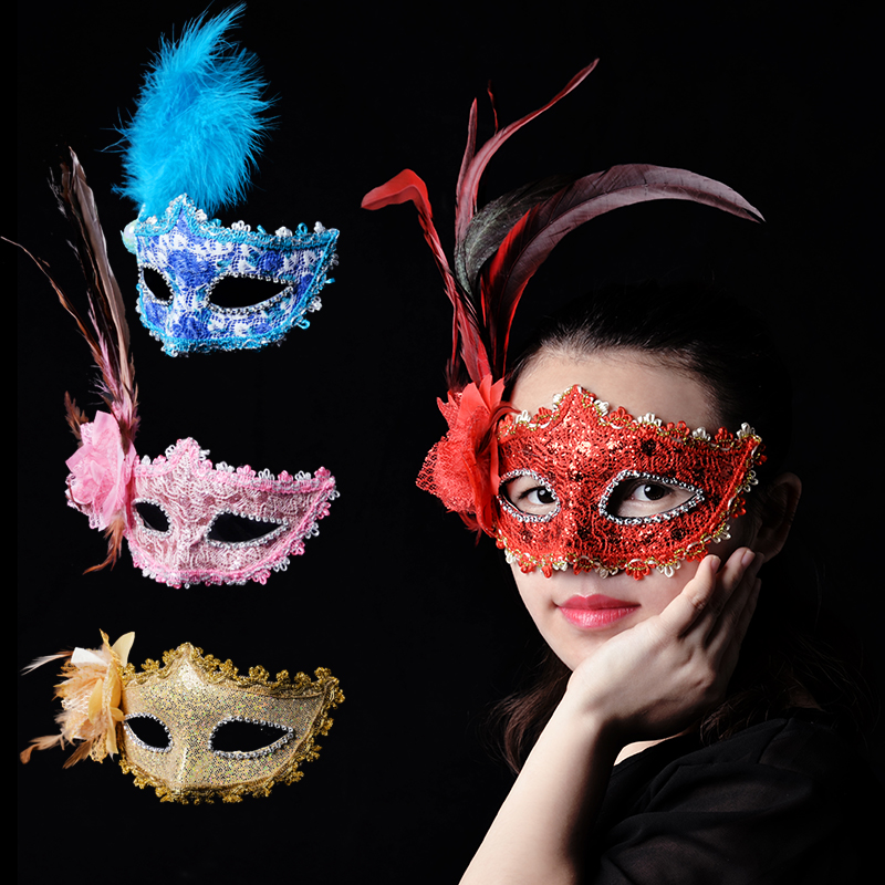 Cosplay,Halloween Mask for girl,Halloween male mask female child COS adult masquerade sexy half face princess fun Venice mask