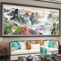 Cross stitch 2019 new line embroidery living room large landscape landscape painting water to produce money full embroidery Fuchun mountain map