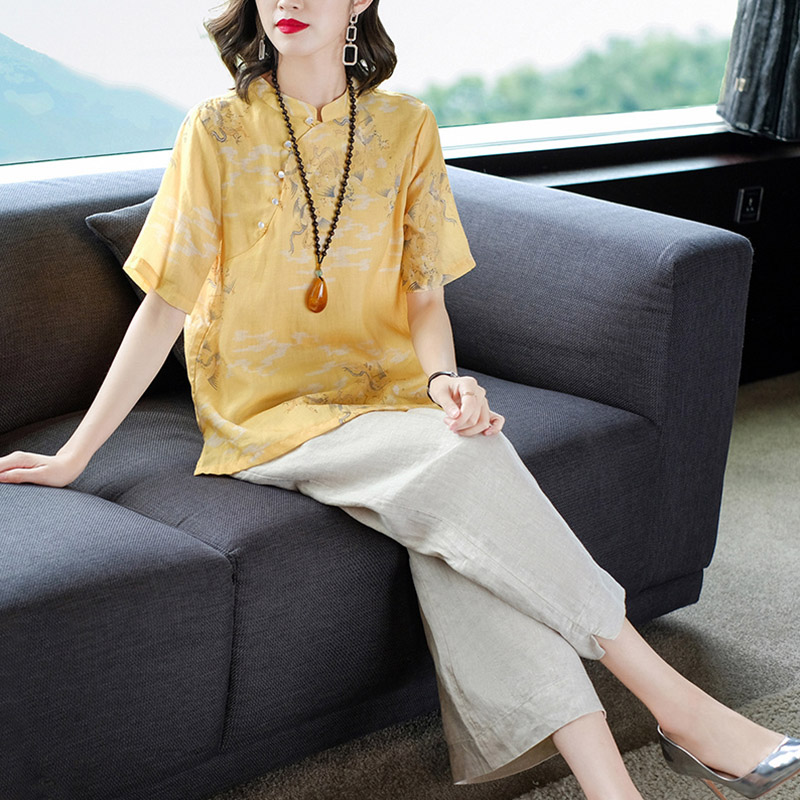 Tang womens Han clothing womens modern Republic of China style retro modified Chinese style suit womens fashion ramie 2021 new