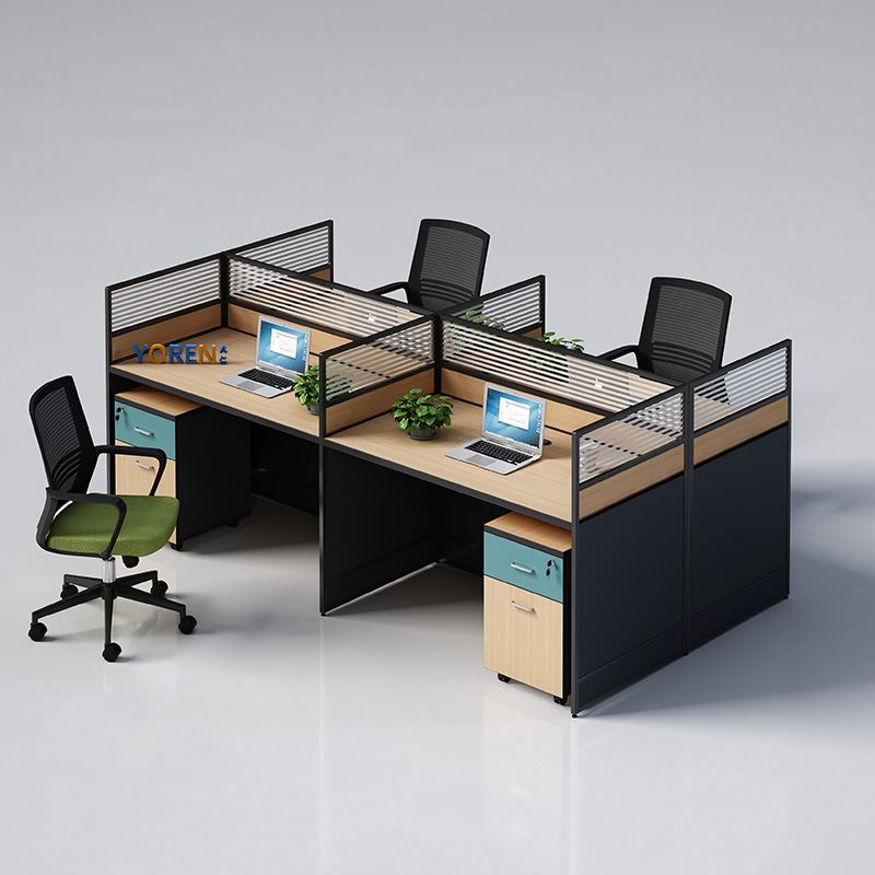 Screen desk and chair combination simple modern office 2 4 6 staff table 4 people cross staff seat card seat