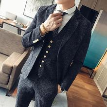Autumn and winter fashion suit three suit retro British style wedding wedding linen suit