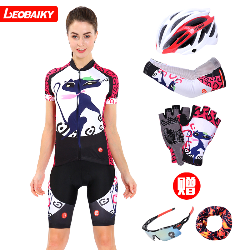 LB Blue Cat Summer Cycling Clothes Women's Short Sleeve Suit Sweat and Body-building Highway Cycling Clothes Short Pants Bicycle Clothes