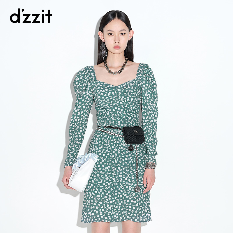 Dzzit Dzzit 2021 summer counter new French retro tie with shredded flower dress female 3D2O6016Q