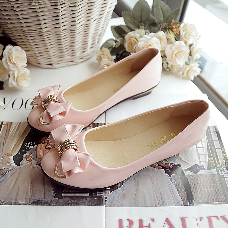 2018 new summer sweet flat shoes bow fashion shoes Korean Princess shallow mouth shoes round head single shoes