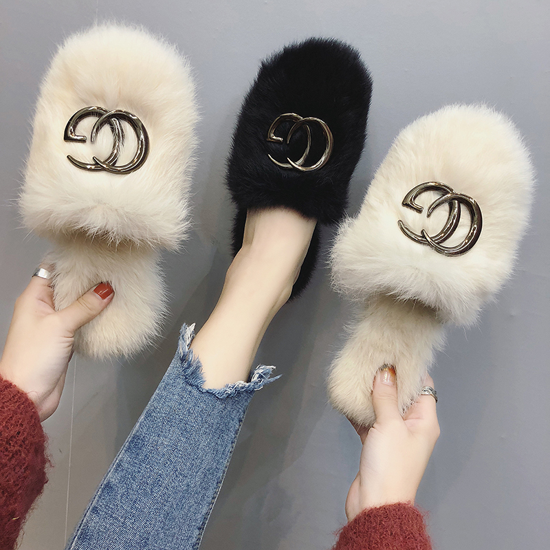 Women's Fur Slippers 2018 New Autumn Korean Edition Fashion Outside Women's Slippers with Baotou Half Slippers Flat Bottom Lazy Women's Shoes