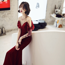 Red toast bride 2019 summer fish tail bag hip slim host high-end evening dress banquet noble