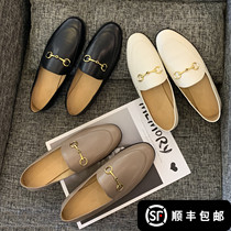 Horsebit buckle leather thick with loafers womens pedal 2020 spring new wild lazy British wind single flat shoes