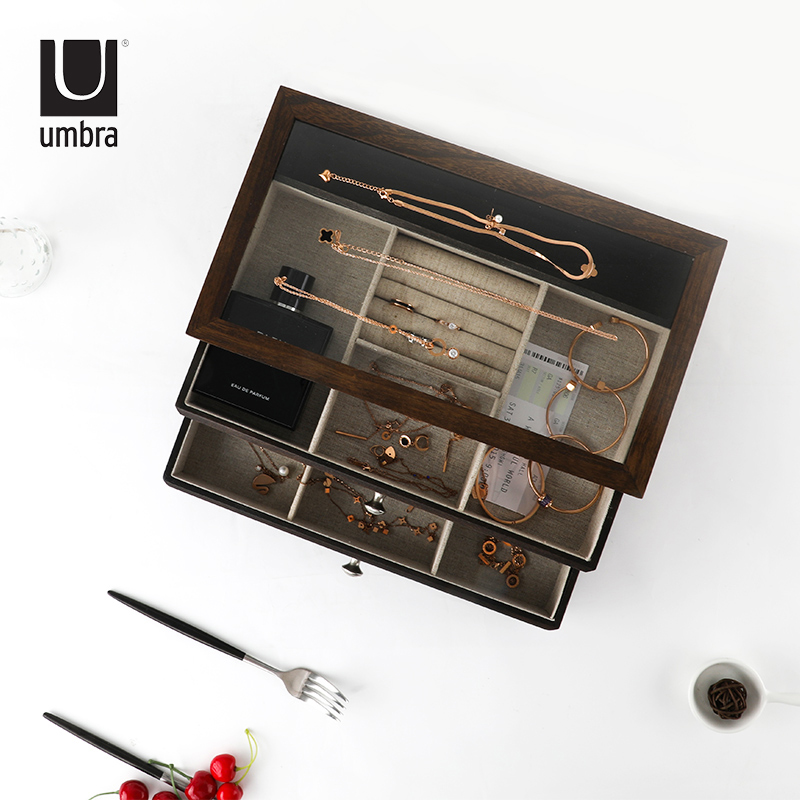 Umbra jewelry earrings necklace jewelry box reception box solid wood Princess European Korean super large capacity jewelry box