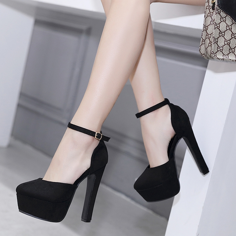 10~14cm cm centimeters or more European and American fashion thick with bare black wedding single shoes Super high-heeled waterproof platform women's shoes