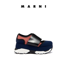 Ms. MARNI contrasting color spliced coated cattle leather magic sticky thick bottom casual sports shoes