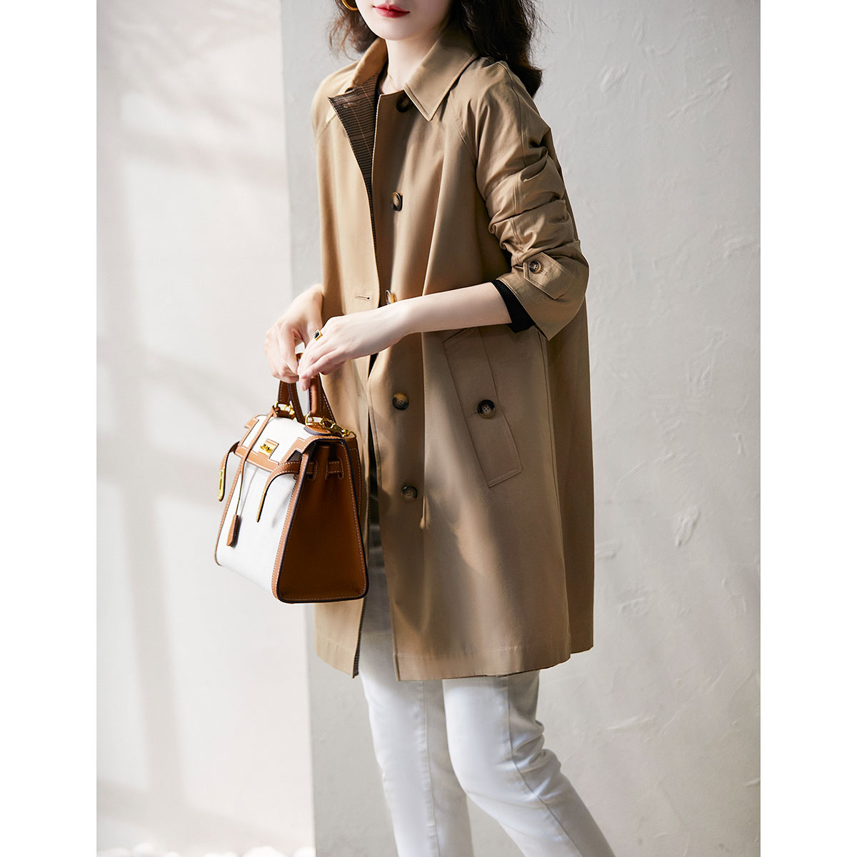 Laughing Hange windcoat womens middle-length version of the British wind-drenched temperament of a hundred foreign coat FY317162AG