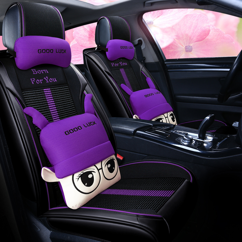 [The goods stop production and no stock]Car seat covers for toyota camry lady, Kia KXCROSS Chi K4 Hyundai IX35 car seat cover all surrounded by four seasons ladies special cartoon cushion Toyota Camry