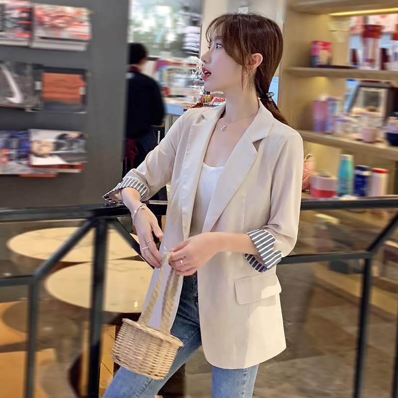Blazer womens thin section 2021 new spring summer Korean version slim casual temperament small suit long top