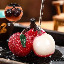 Litchi tea Pet ornaments flushing color-changing boutique can raise mini ornaments Creative tea ceremony Tea accessories tea play