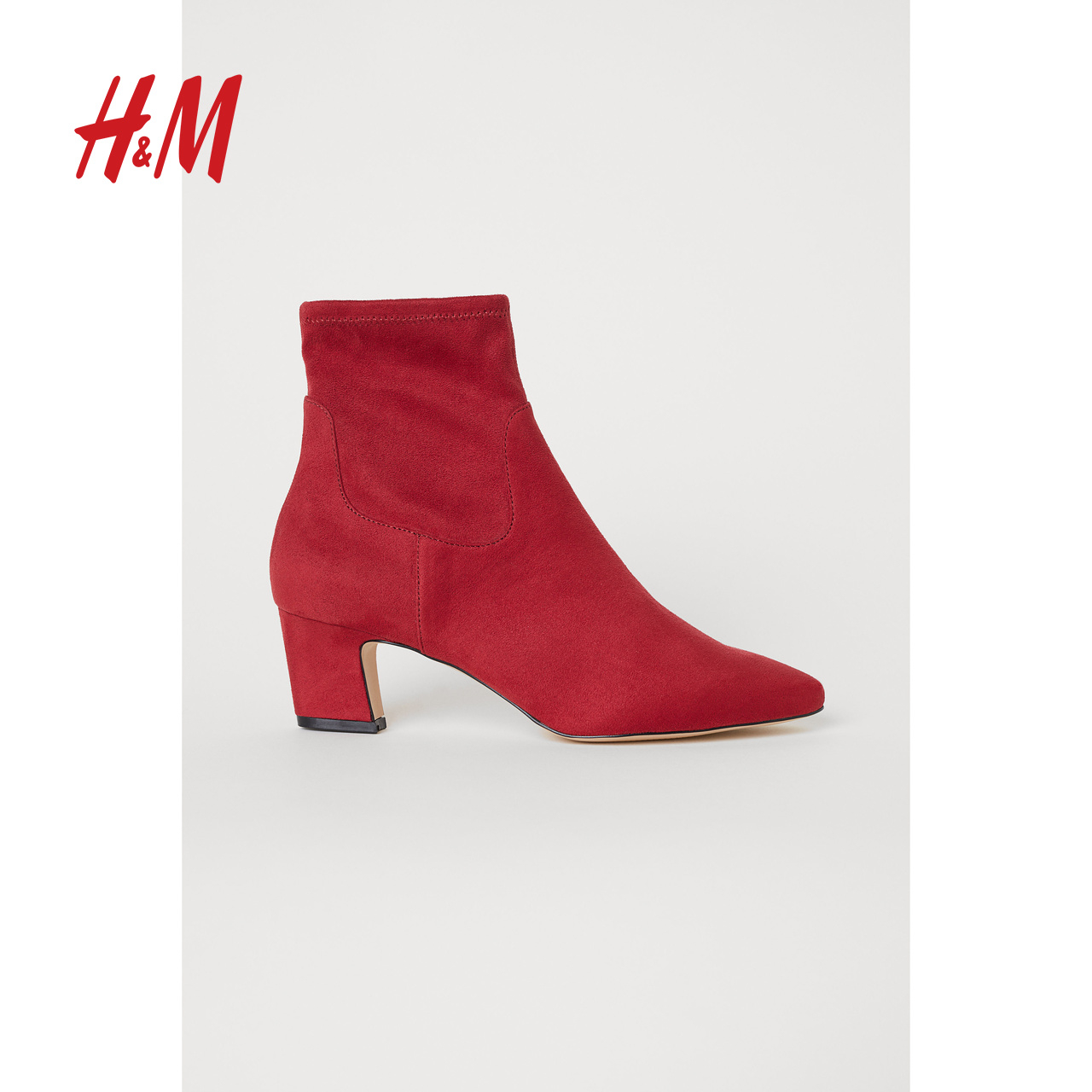 H&M Women's Shoes 2018 New High Heel Boots Fashion Side Zip Suede Ankle Boots HM0657135