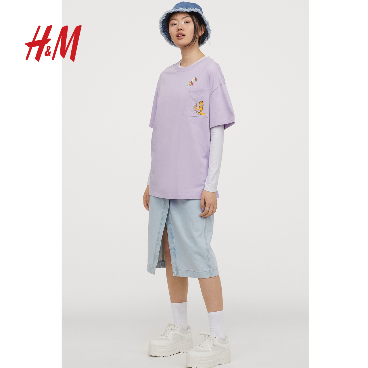 HM divided women's spring 2020 round neck cotton cartoon T-shirt 0831762