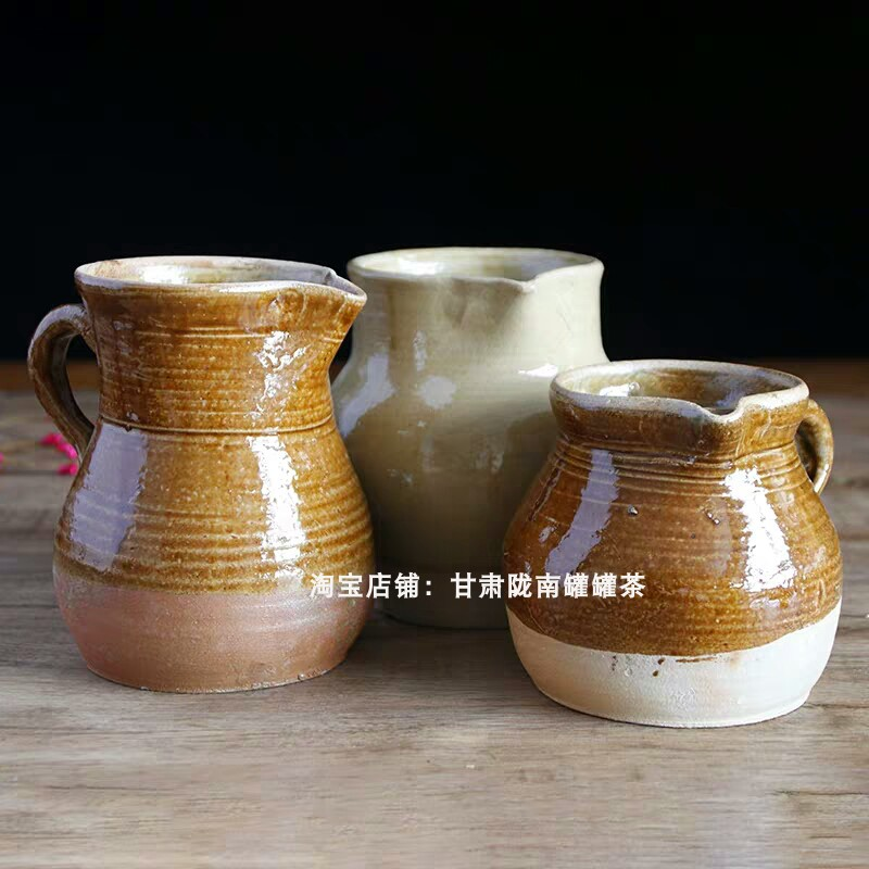 Pure hand-crafted Gansu Tianshui soil pottery unglazed teapot teapot home roast tea maker coarse ceramic fair cup ancient wind